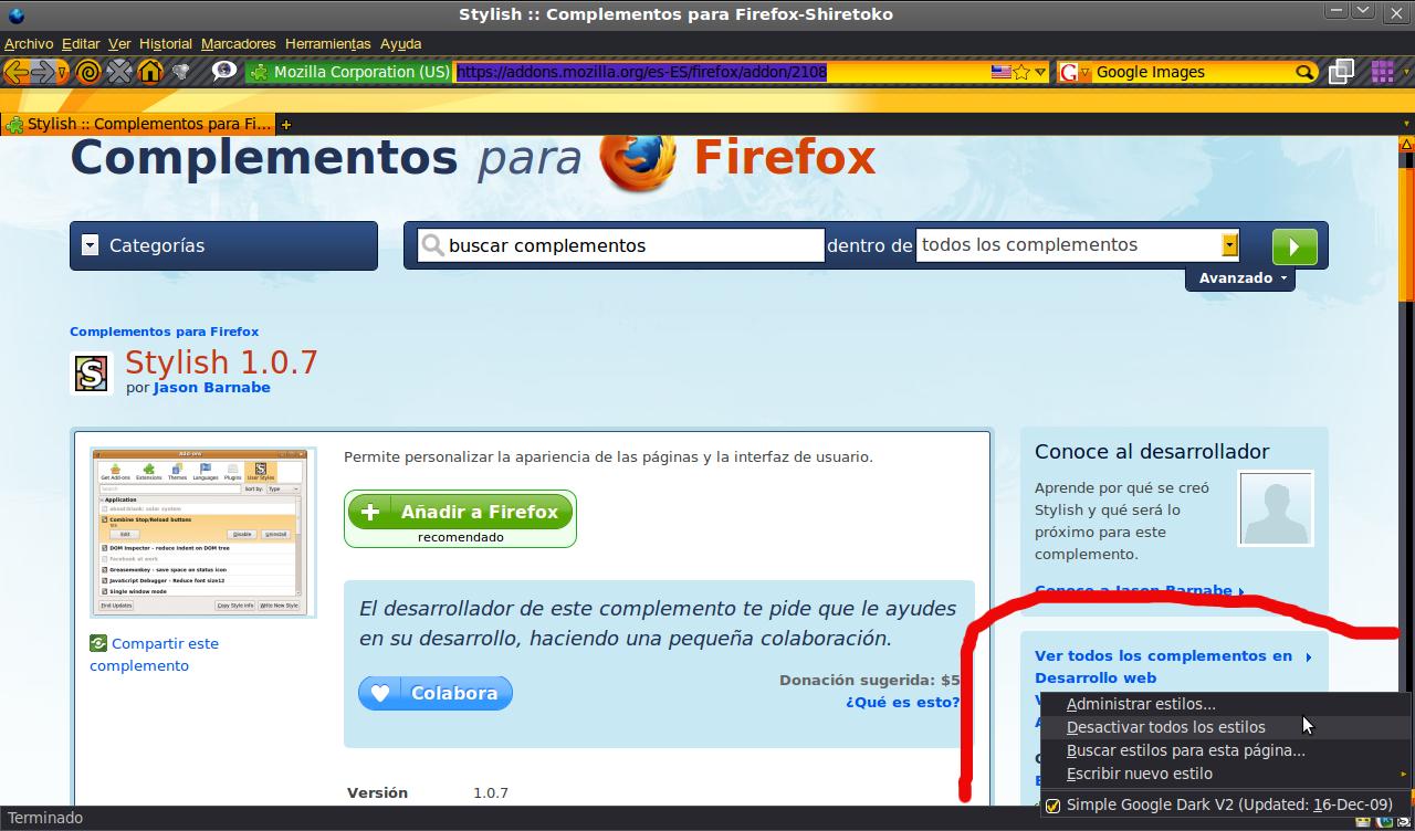 Firefox de complementos stylish